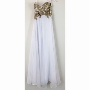 Strapless Gold Embroidered White Dress Small